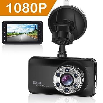 ORSKEY Cámara Coche Full HD 1080P Dash Cam 170° Gran Ángulo WDR Visión Nocturna Cámara