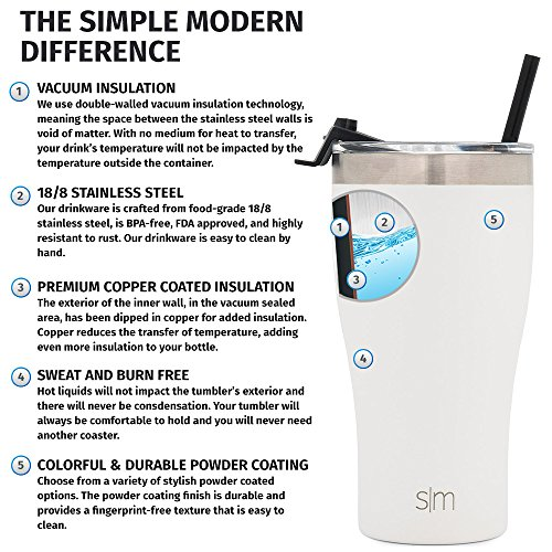 Simple Modern 32oz Slim Cruiser Tumbler with Straw & Closing Lid Travel Mug - Vacuum Insulated Water Coffee Cup Double Wall - Hydro 18/8 Stainless Steel Flask Thermos - Winter White by Simple Modern (Image #4)