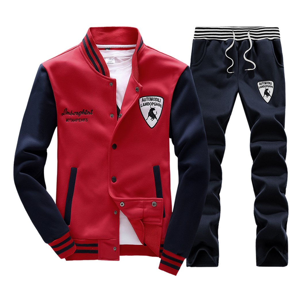 Sun Lorence Men's Slim Fit Jogging Baseball Sweat Suit Set Casual Sports Tracksuits 6133301593576