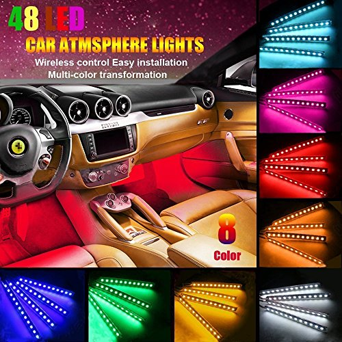 FICBOX Car LED Strip Light, ?Upgraded? 4Pcs 48 LEDs Multi-Color Car Interior Light,Auto Atmosphere Lights Strip Waterproof Glow Neon Lighting Kit with Wireless Remote Control and Car Charger