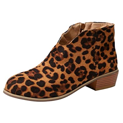 e5a822195684 JIANGfu Women Winter Suede Leopard Print Zipper Ankle Boots