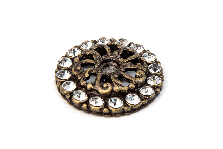 Carpe Diem Hardware 884-3C Cache Antique Brass Escutcheon with Swarovski Crystals