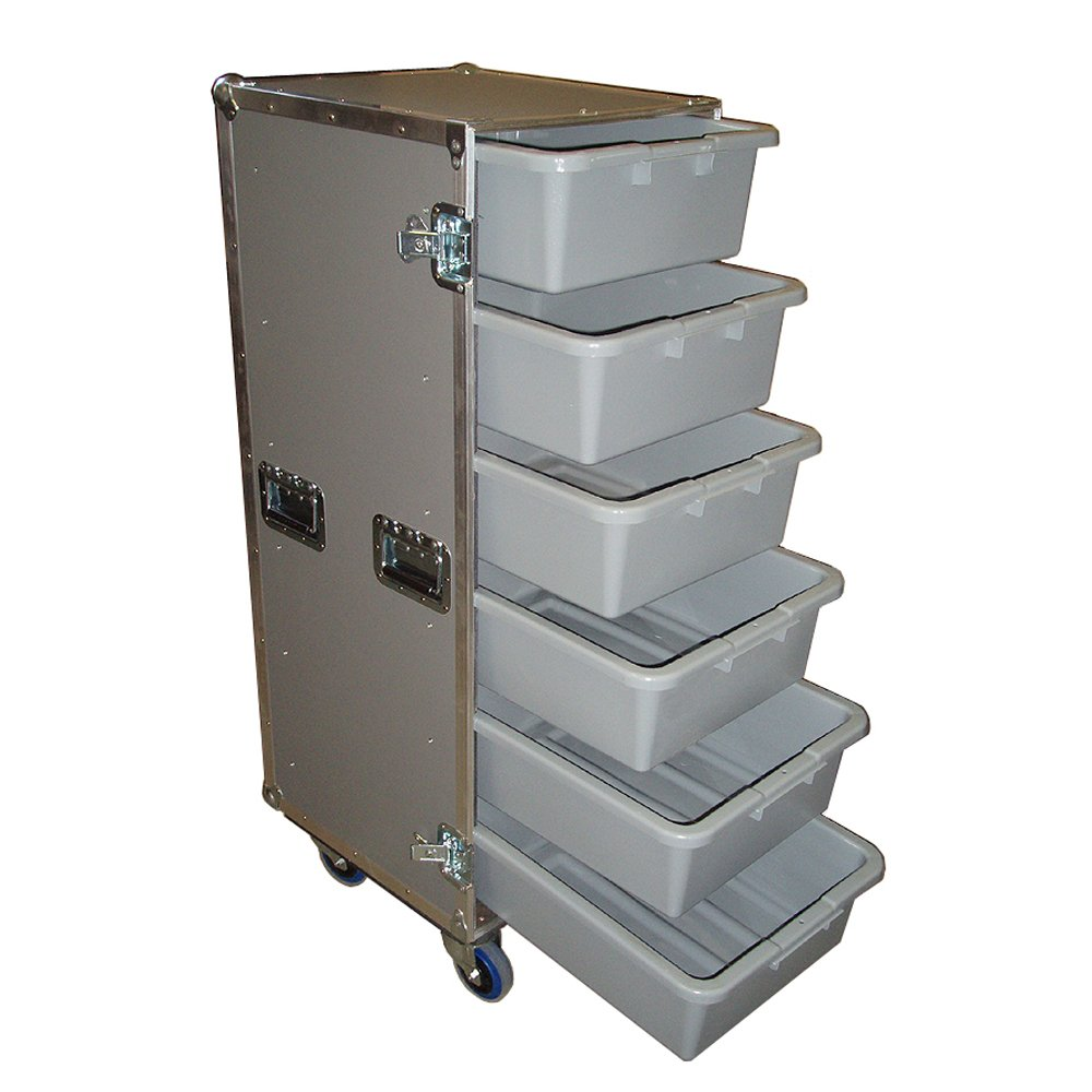 Drawer Workbox - 6 Large Tub - Drawer Heavy Duty 3/8 Ply ATA Case with Lid Table & Wheels by Roadie Products, Inc. (Image #2)