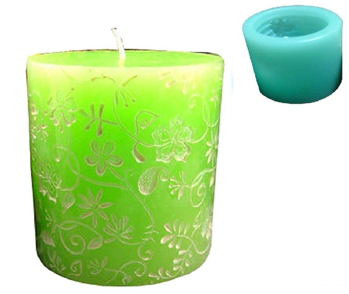 Inception Pro Infinite stampi in silicone per uso artigianale di un cilindro con motivo floreale - adatto anche per candele Exsyn Di Tozzi Stefano