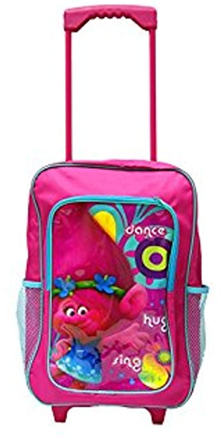 Dreamworks Trolls Children's Trolley Bag - Pink Luggage Bag & Back Pack - With Pull-Out Trolley Handle & Adjustable Straps Hunters