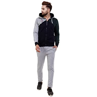 fd4a6efb Griffel Men's Fleece Tracksuit (Medium, Grey): Amazon.in: Clothing ...