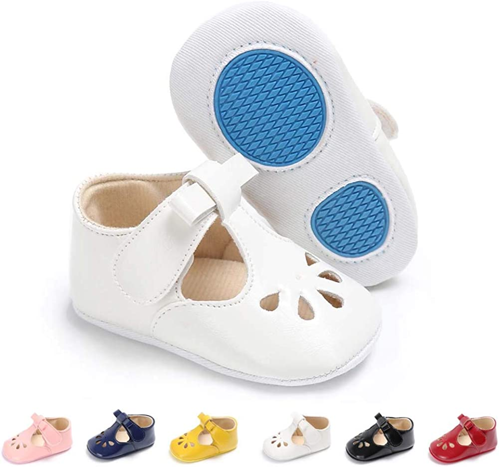 SOFMUO Baby Girls Mary Jane Flats with Bowknot Non-Slip Toddler First Walkers Princess Dress Shoes