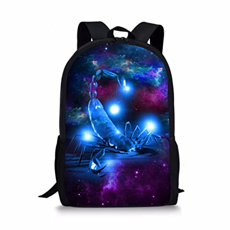 6a4479d79db1a Boys Middle School Backpack Cool Galaxy Scorpio Print Customized School  Book Bag