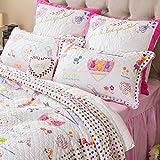 Brandream White and Pink Girls Comforter Set Kids Cartoon Bed Quilt Set Full Size