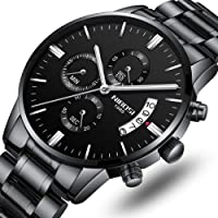 Mens Watches Luxury Fashion Casual Dress Chronograph Waterproof Military Quartz Wristwatches for Men Stainless Steel Band