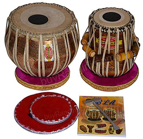 Copper Tabla Set - Mukta Das Tabla Drums - Concert Quality, 3.5 Kg Chromed Copper Bayan - Golden Ganesha Design, Sheesham Dayan, Padded Bag, Book, Hammer, Cushions, Cover, Tabla Musical Instrument (PDI-ADD)