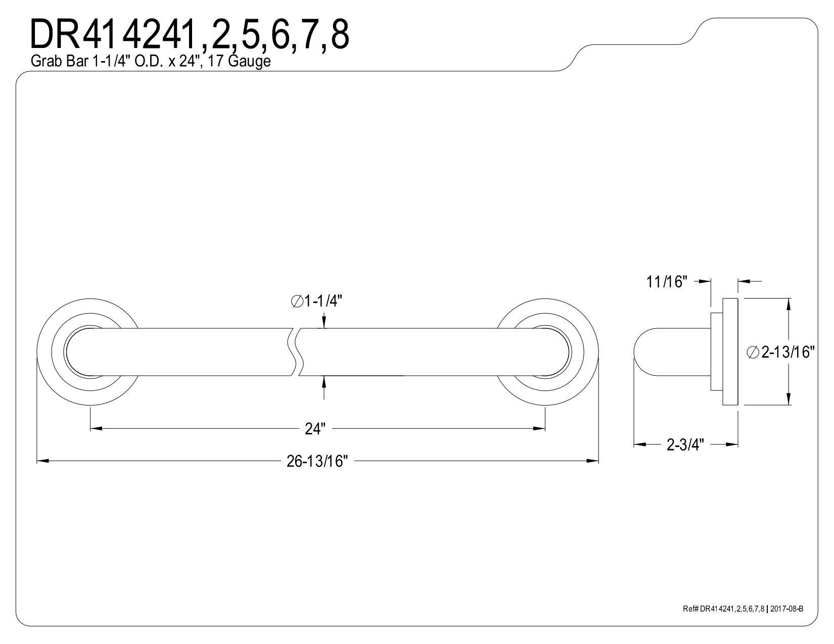 Kingston Brass DR414245 Designer Trimscape Manhattan Decor 24-Inch Grab Bar with 1.25-Inch Outer Diameter, Oil Rubbed Bronze