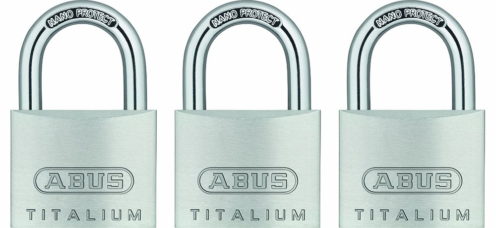 ABUS 64TI/40 Titalium Aluminum Alloy Padlock Keyed Alike - Nano Protect Steel Shackle - 3 Pack