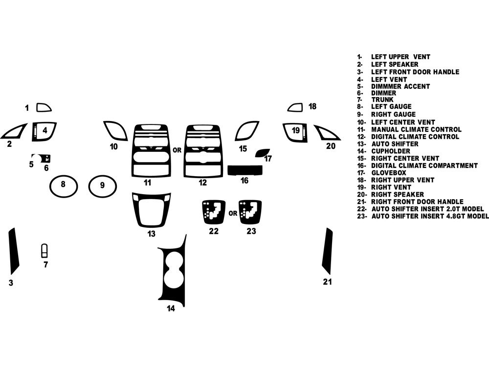 Rdash Dash Kit Decal Trim for Hyundai Genesis 2010-2012 (Coupe) - Carbon Fiber 4D (Black) Rvinyl