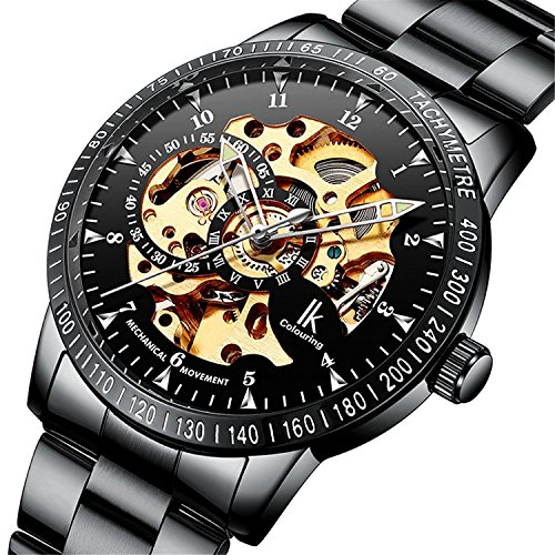 Mens Automatic Winding Black Dial - GuTe IK Casual Mens Black Steel Skeleton Automatic Mechanical Wristwatch Golden Dial Tachymeter