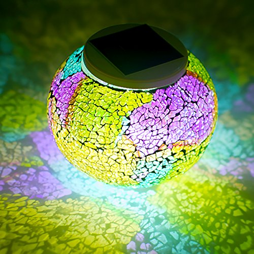 61ko4INfbLL - Color Changing Mosaic Glass Ball Waterproof Yard Light Solar Powered Outdoor LED Table light Mosaic Night Lamp for Garden Home Patio Festival Party Decorations