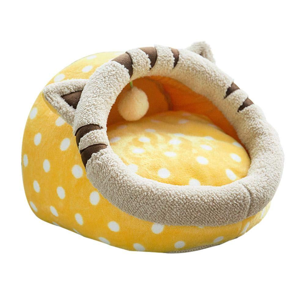L B2 L B2 Biback Soft Self-Warming Dog Sleeping Bed Winter Fleece Pet Cave Bed Puppy Indoor Cartoon Nest with Ball.