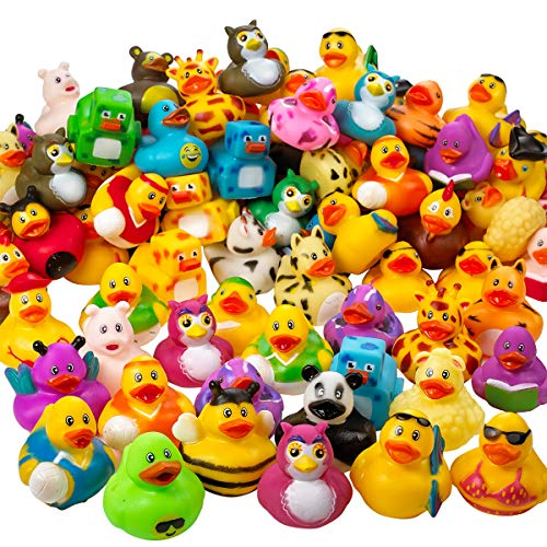 Kicko Assorted Rubber Duckies - 100 PC Bath Floater – Baby Showers Accessories – Bulk Ducks for Kids – Easter Party, Halloween Party Favors, Rubber Ducks Supplies and Favors by Kicko (Image #6)
