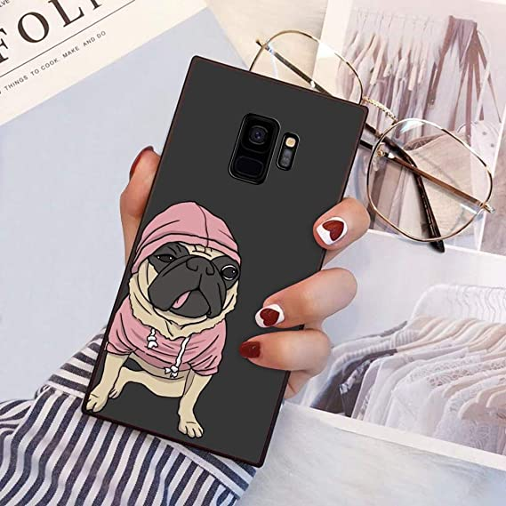 Square Pug Dog Samsung Galaxy S9 Plus Case, JQLOVE All-Inclusive Full-Body  Shockproof Protective Phone Cover, Case for Samsung Galaxy S9 Plus Pug Dog