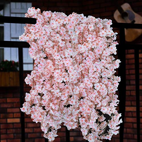 Sunm boutique Artificial Cherry Blossom Garland Hanging Vine Silk Garland Wedding Party Decor (Pack of 2)