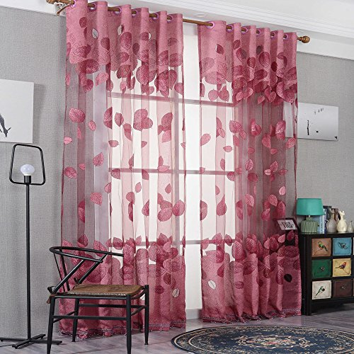 96' Cable (AUSWIND Purple/Yellow/Red Leaf Polyester Grommet Top Window Sheer one Panel (52''W 96''H, Red))