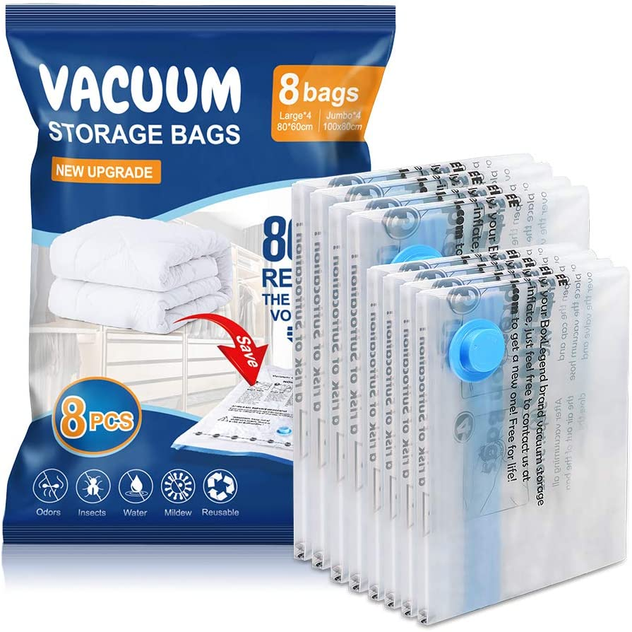 Vacuum Storage Bags 8 pack(4*Jumbo, 4*Large), Premium Space Saver bags for Clothes Duvets Blankets Pillows Comforters, travel storage.
