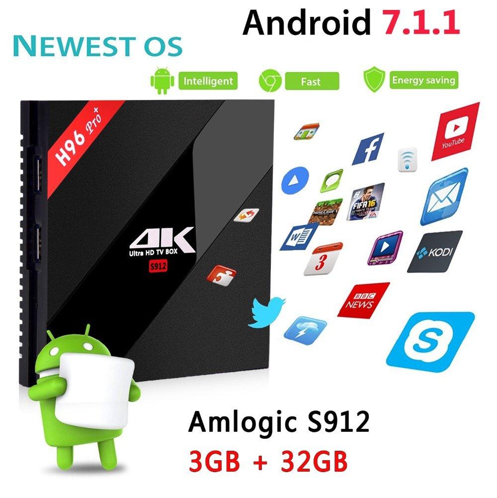 SHENGMO H96 Pro Plus + Android 7.1 TV Box 3G RAM 32G ROM Amlogic S912 Octa Core 64Bit 2.4G/5G Wifi 4K BT4.1 HD Media Player Set Top Box