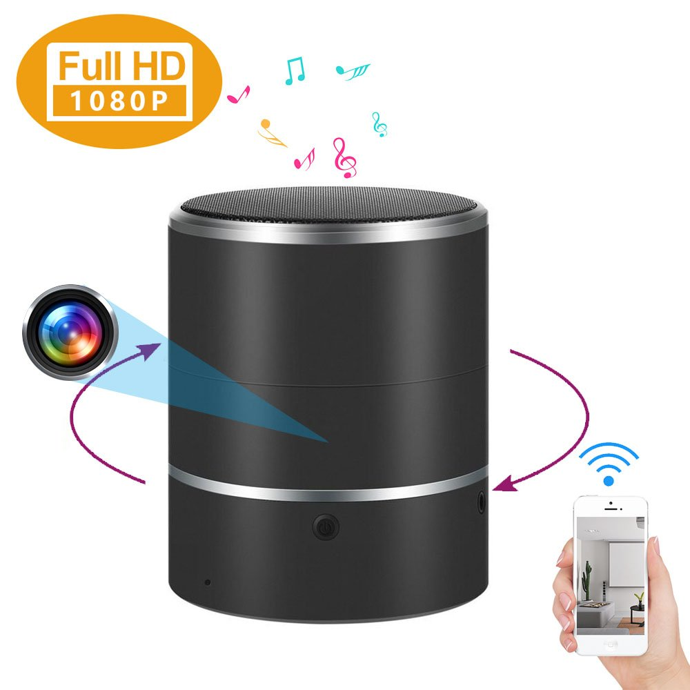 WIFI Hidden Camera Bluetooth Speaker Spy Camera 1080P Wireless Security Camera Nanny Cam with 180°Rotate Lens and Motion Detection