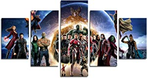 hcozy Print Painting Canvas, 5 Pieces The Avengers Infinite War Canvas Wall Art Painting for Home Living Room Office Mordern Decoration Gift(Unframed)