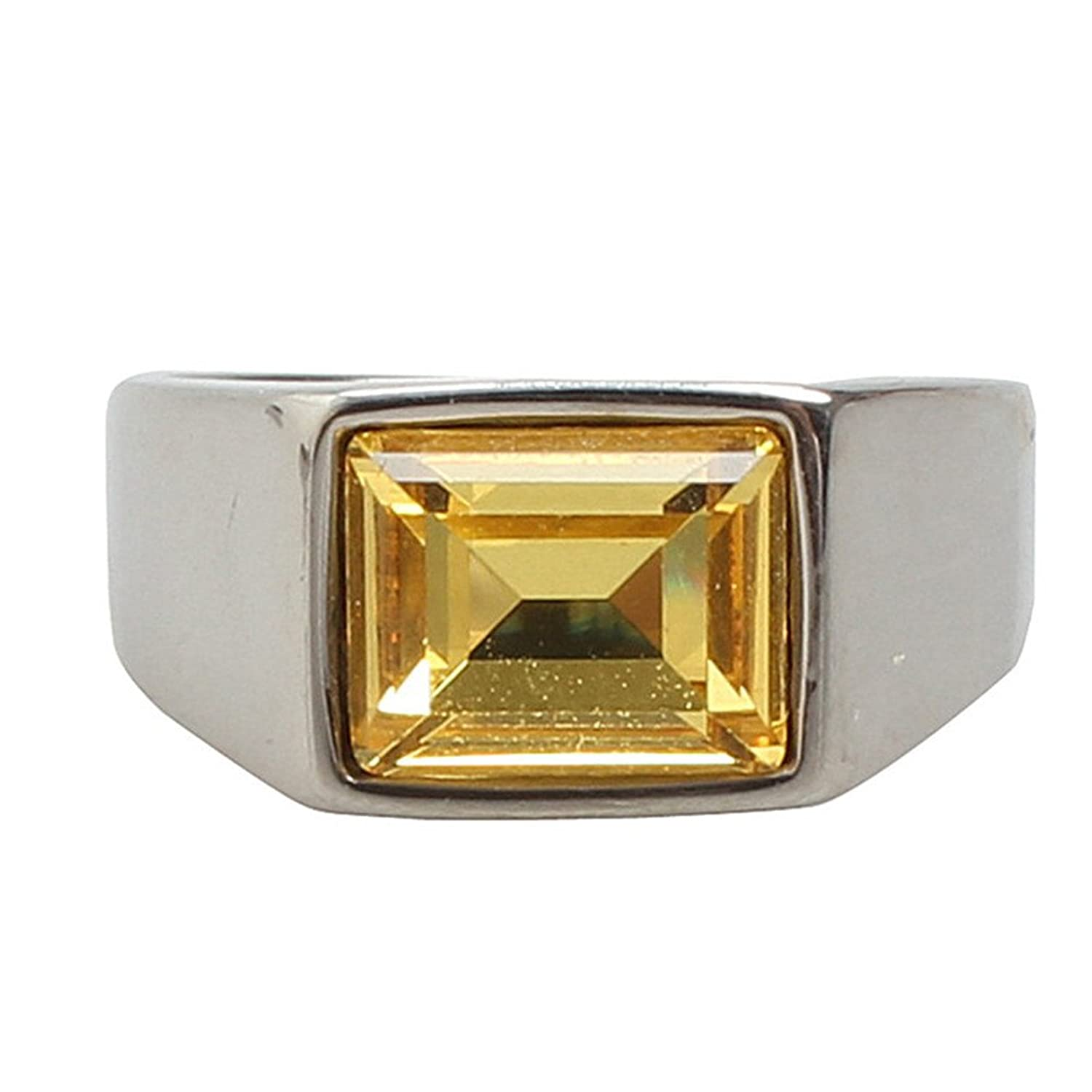 PMTIER Men's Stainless Steel Square Gemstone Ring Classic Engagement Wedding Bands