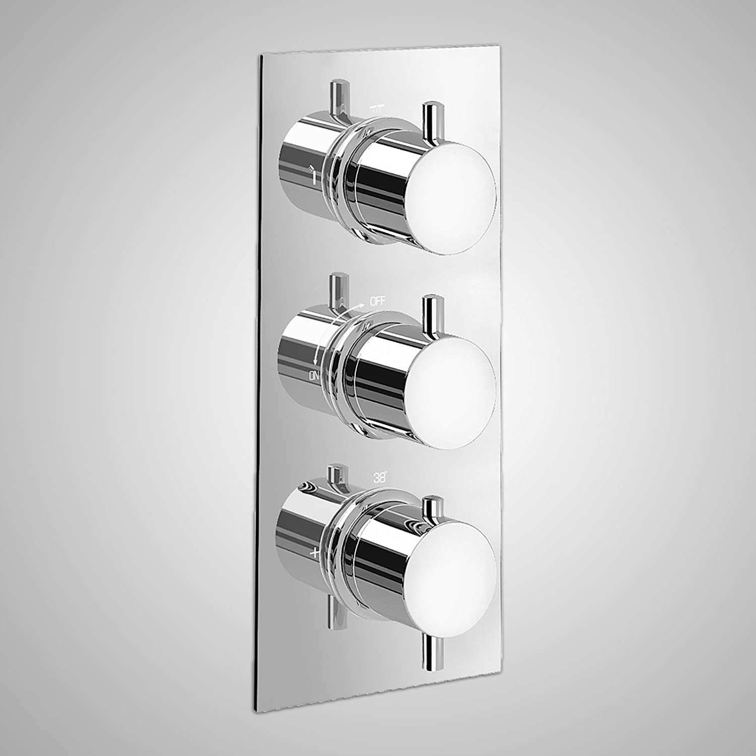 BATHROOM 3 DIAL 3 WAY ROUND THERMOSTATIC SHOWER MIXER VALVE, SHOWER ...