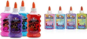 Elmer's Liquid Glitter Glue, Great For Making Slime, Washable, Assorted Colors, 6 Ounces Each, 4 Count& Washable Translucent Color Glue,Great For Making Slime, Assorted Colors, 5 Ounces Each, 4 Count