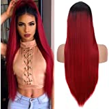 Fani Ombre Wine Red Wigs Long Straight Burgundy Synthetic Wig for Women and Ladies Natural Hairline Middle Part Cosplay…