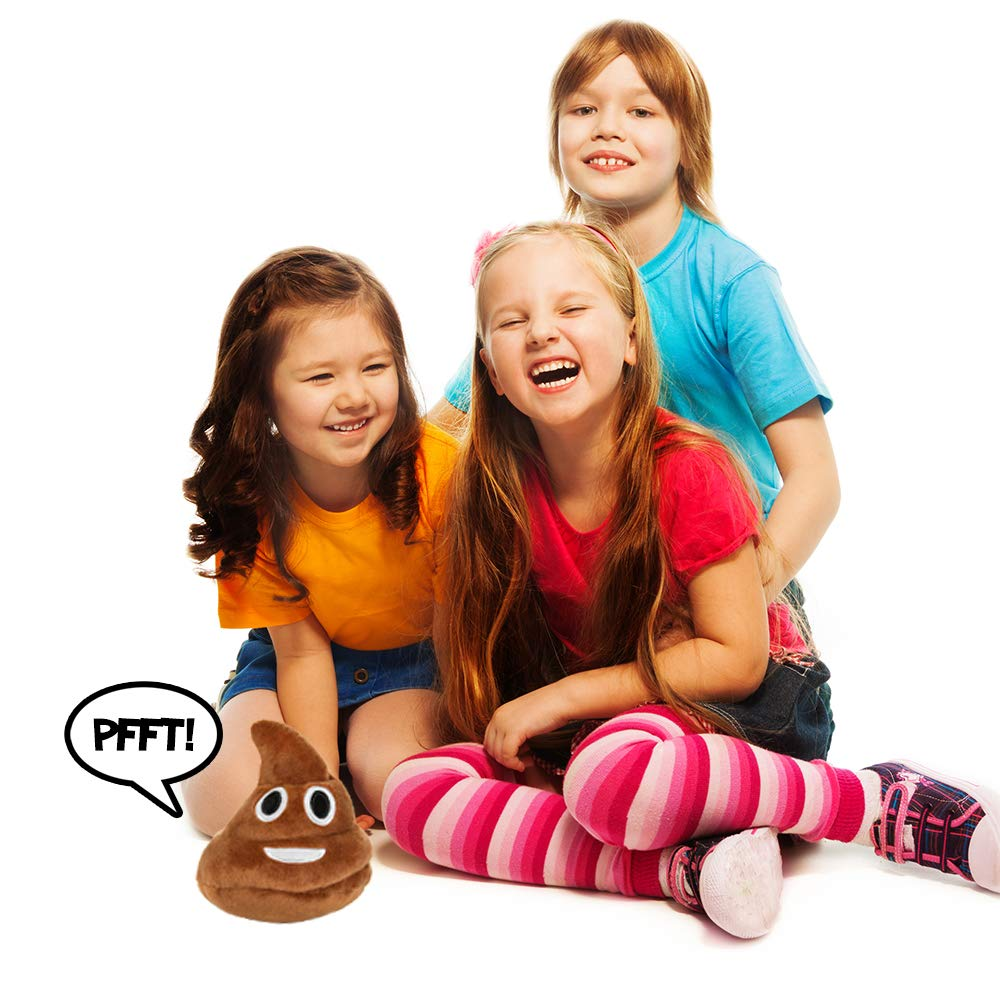 Poop Emoji Farting Plush Toy - Makes 7 Funny Fart Sounds – Gently Drop, Plop or Toss to Activate & Hear Him Fart - New & Improved - Louder Farts - Fun for Poop Games - Measures a Super Cute 4 x 4.5'' by OUR FRIENDLY FOREST (Image #5)