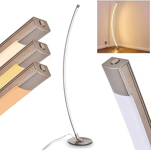 Illuminazione interno con luce calda 3000 Kelvin Lampada da terra LED Antares in metallo di colore cromo 820 Lumen Piantana a stelo con forma curvilinea ideale per la lettura