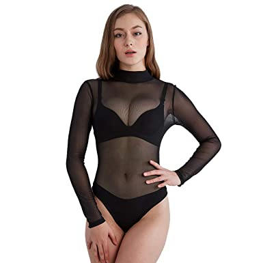 YIJIAYUAN Women s Black Sheer Mesh Bodysuits Long Sleeve Sexy Leotard  Jumpsuit Club Tops (Small d6bf184fe