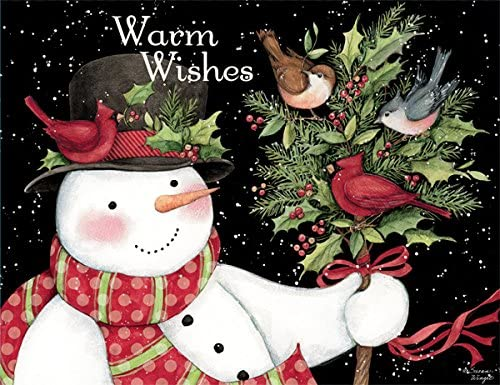 18 Cards Snowman and Friends Artwork by Susan Winget 19 envelopes Boxed Christmas Cards 5.375 x 6.875 LANG
