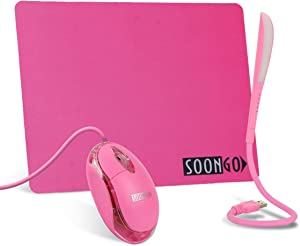 Pink Mouse Pad Kids Mouse for Laptop USB LED Light 3 in 1 Gift Combo Mice Pad Non-Slip Rubber Base Touch Dimmable Flexible USB Laptop Reading Lamp for Computer Laptop Home Office Travel by SOON GO