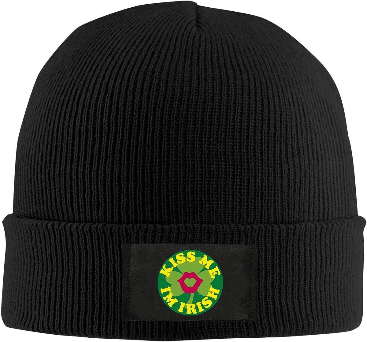 Mens Womens Kiss Me Im Irish Knit Beanie Hats Warm Wool Skull Caps