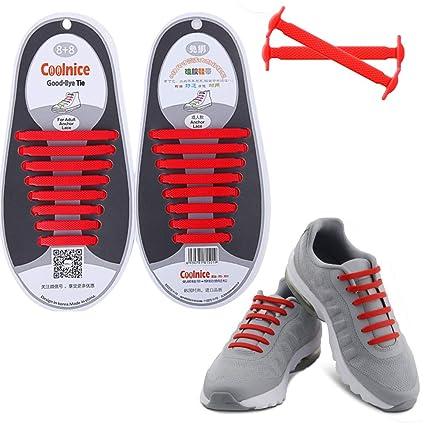 12 x Easy No Tie Shoelaces Silicone Elastic Athletic Shoe Laces Sneaker Laces DB