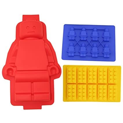Amazon.com: Silicone Minifigure Cake Pan, Bricks Mold and Minifigure ...