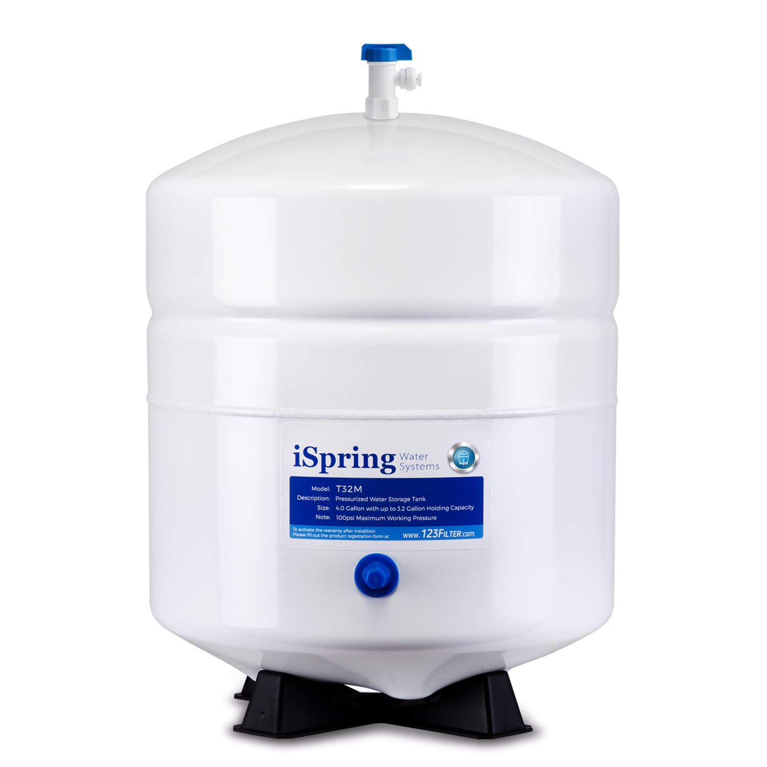 iSpring T32M Pressurized Water Storage Tank with with Ball Valve for Reverse Osmosis RO Systems, 4 Gallon by iSpring