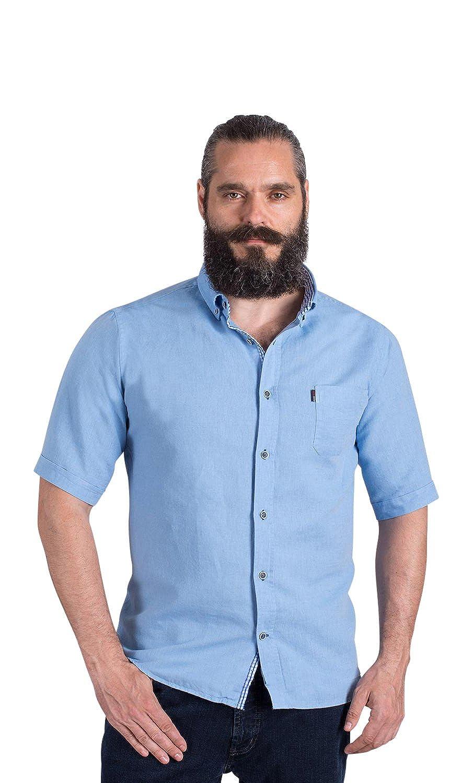 PLUS MAN Kurzarm-Freizeithemd aus Leinen