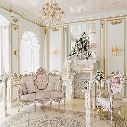 - Laeacco 10x10ft Vinyl Backdrop Photography Background Luxurious Interior Decorations Sofa Chair Chandelier Fireplace Flowers Scene Aristocrat Style Wedding Photo Background Personal Portrait Art