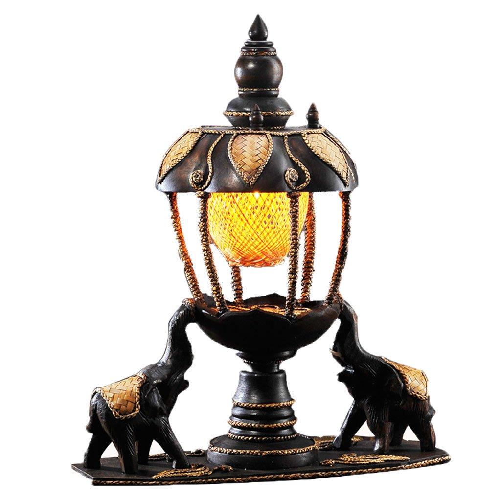 明るい タイスタイルアートエレファントデスクランプ、竹陰、木彫り伝統的なベッドルームリビングルームテーブルランプ 照明システム B07SGP3MBY