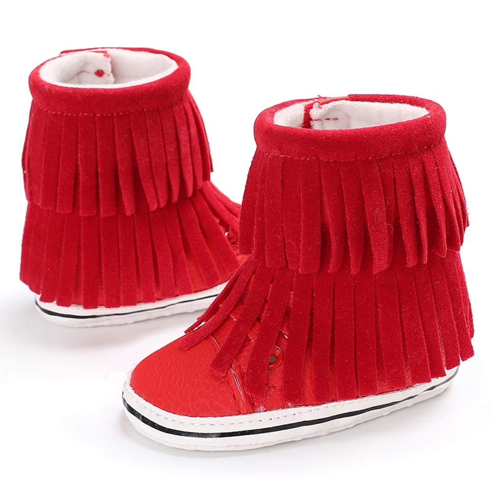 NUWFOR Infant Newborn Baby Girls Cashmere Tassels Winter Boots Prewalker Warm Shoes(Red,12~18 Month)