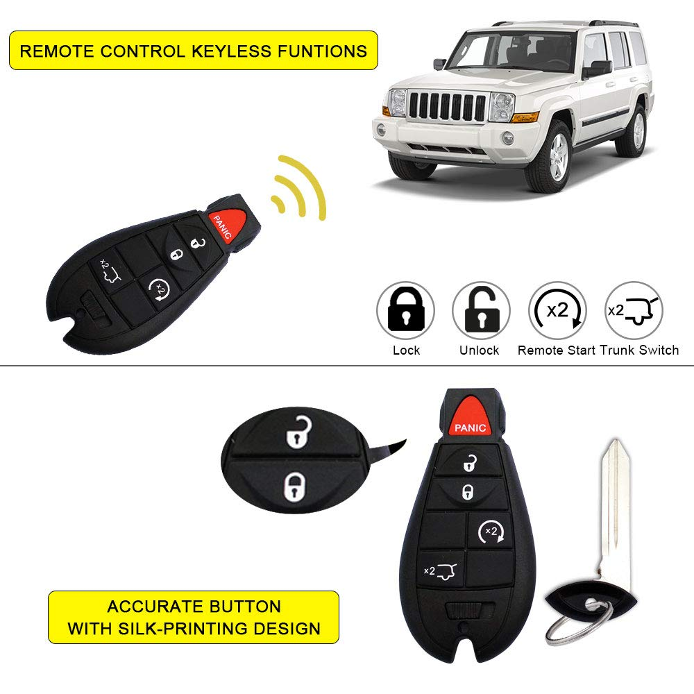 Pack of 2 YITAMOTOR Keyless Entry Remote Replacement for M3N5WY783X 433MHz Car Key Fob Compatible for Jeep Grand Cherokee 2008 2009 2010 2011 2012 2013