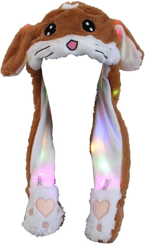 Leopard Alsino Lustige Tier Wackelohren M/ützen mit beweglichen Pl/üsch Ohren Happy Ears zum Dr/ücken Hut Spielzeug mit LED Licht f/ür M/ädchen
