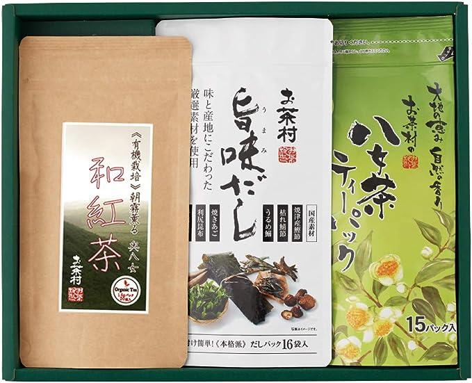 お茶村 和紅茶ティーパック・八女茶ティーパック・旨味だし 詰め合わせ 3本入り ギフト