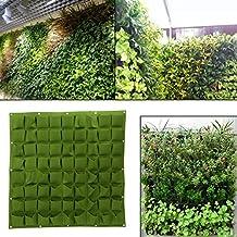 Planting Bags, Wall Hanging Gardening Planter Outdoor Indoor Vertical Greening Grow Bags (Green, 72)